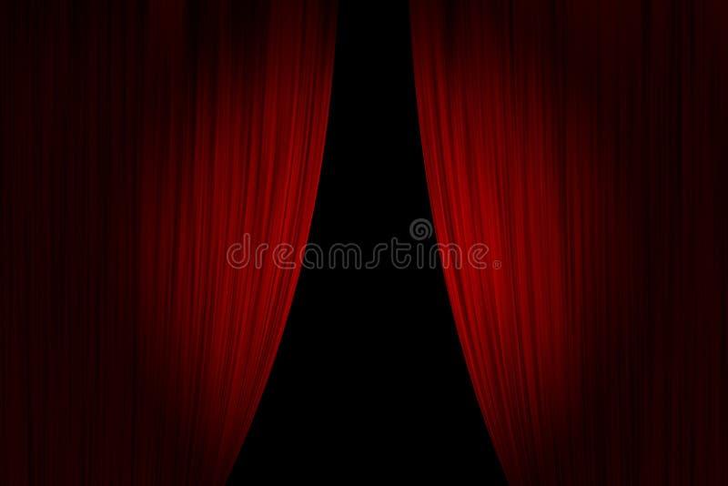 Cortinas vermelhas do teatro ilustração do vetor