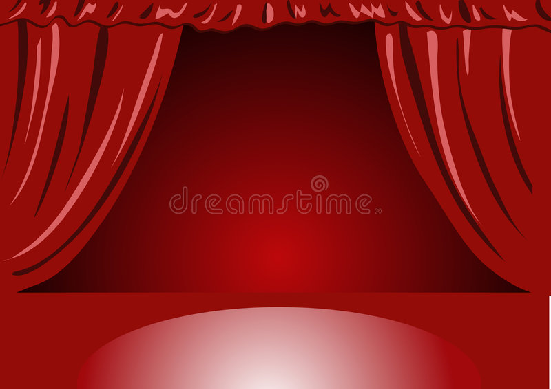 Cortinas Vermelhas Do Teatro De Veludo - Ilustração Vectorial Foto de Stock Royalty Free