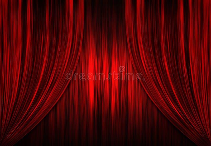 Cortinas vermelhas do teatro/teatro ilustração do vetor