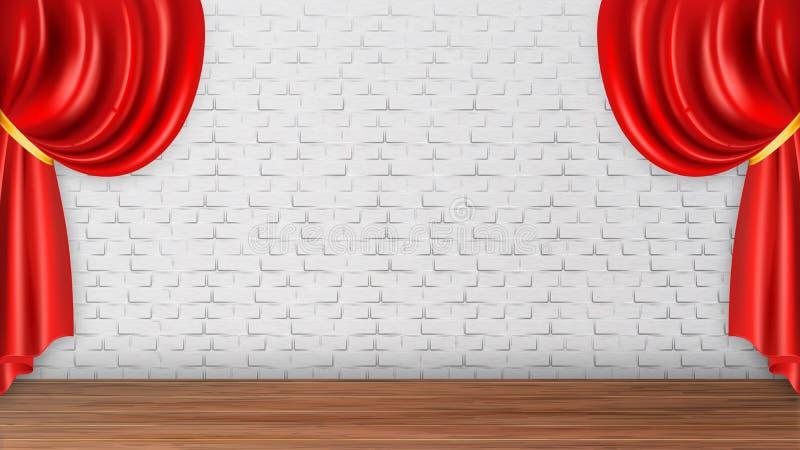 Cortinas vermelhas no vetor branco do fundo da parede de tijolo ilustração royalty free