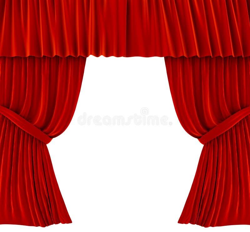 Cortinas vermelhas sobre o branco ilustração royalty free