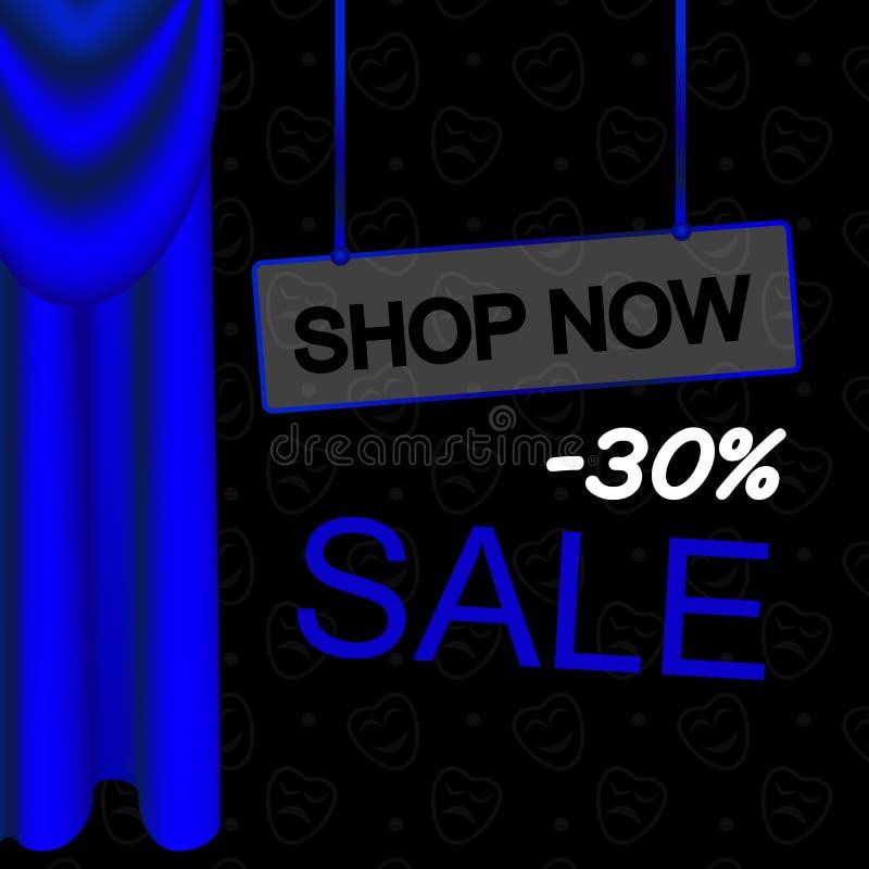 Cortinas y pañerías de lujo azules stock de ilustración