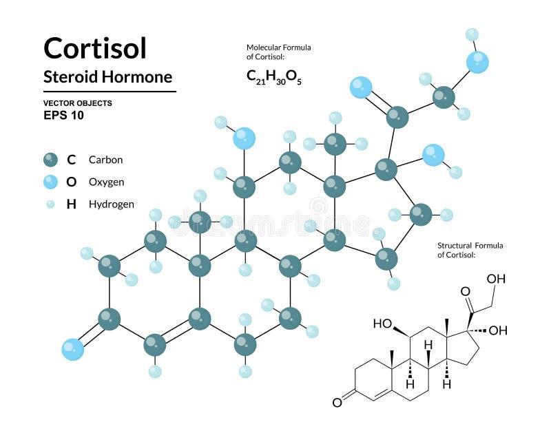 cortisol Hormona esteroide Fórmula molecular y modelo químicos estructurales 3d de la hormona de tensión stock de ilustración