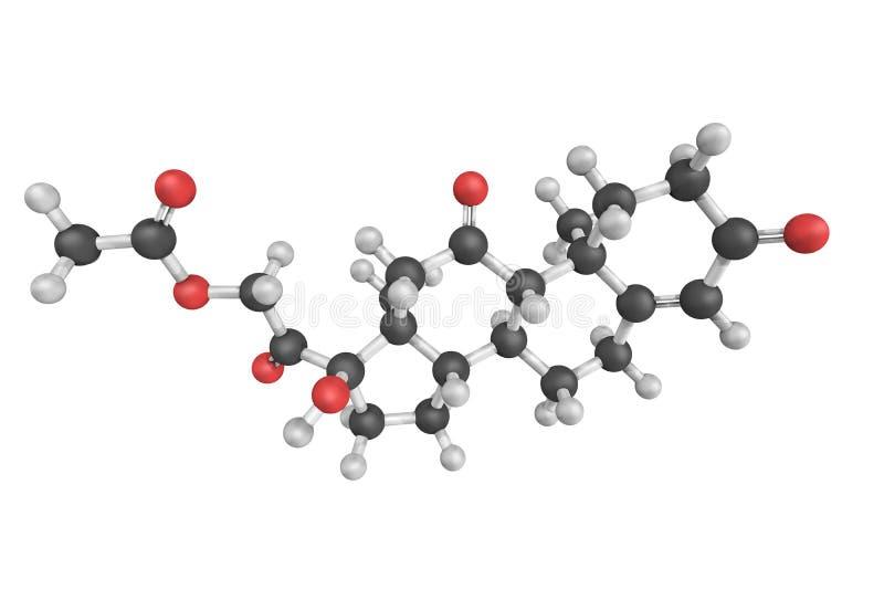Cortisone, een pregnane steroid hormoon Één van de belangrijkste hormonen stock fotografie