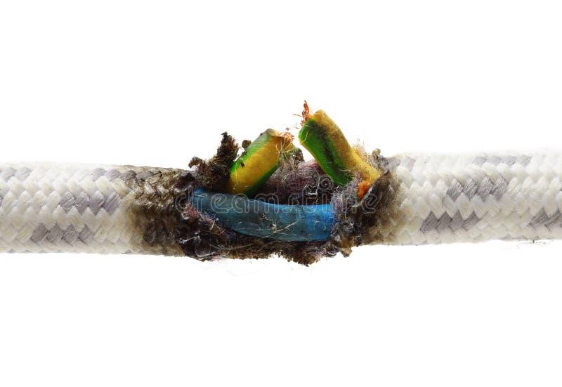 Cortocircuito, cavo bruciato fotografia stock