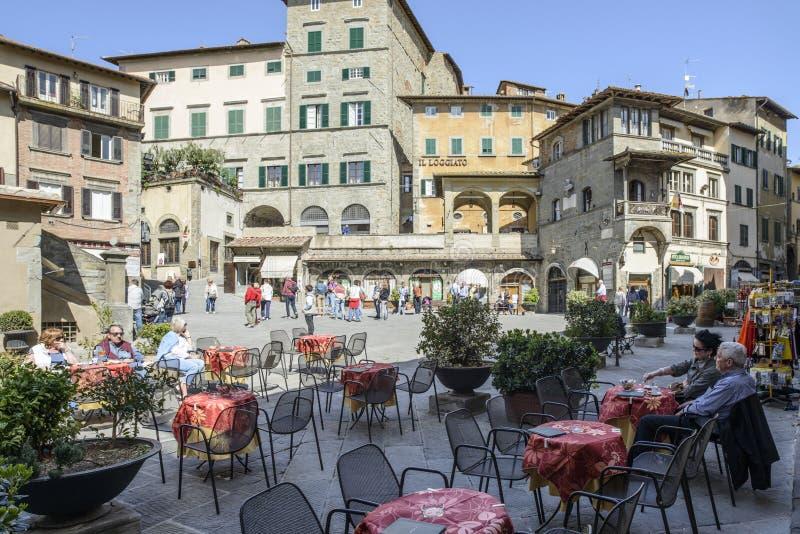 Cortona, arezzo, Toscânia, Italia, Europa, quadrado da república fotos de stock royalty free
