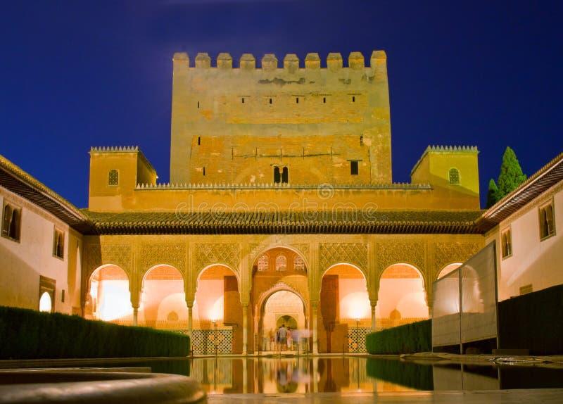 Cortyard of Alhambra at night, Granada, Spain. Patio de los Arrayanes (Court of the Myrtles) in La Alhambra at night, Granada, Spain royalty free stock images