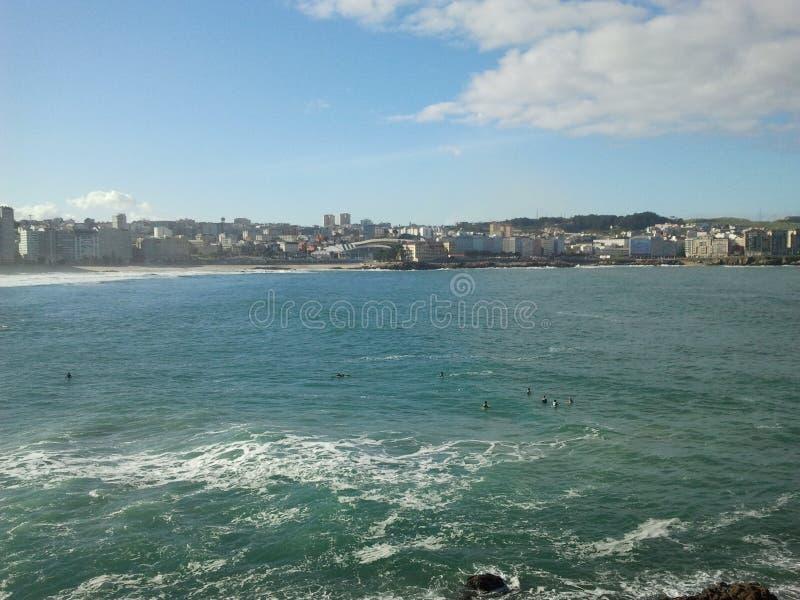 Coruña van het Riazorstrand A stock afbeeldingen