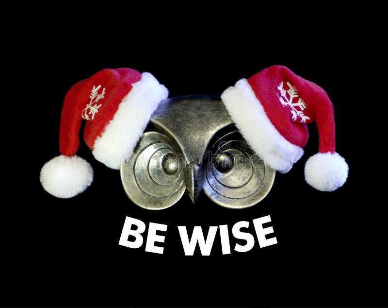 A coruja agradável com texto SEJA SÁBIA Compra esperta do Natal Conceito imagens de stock royalty free