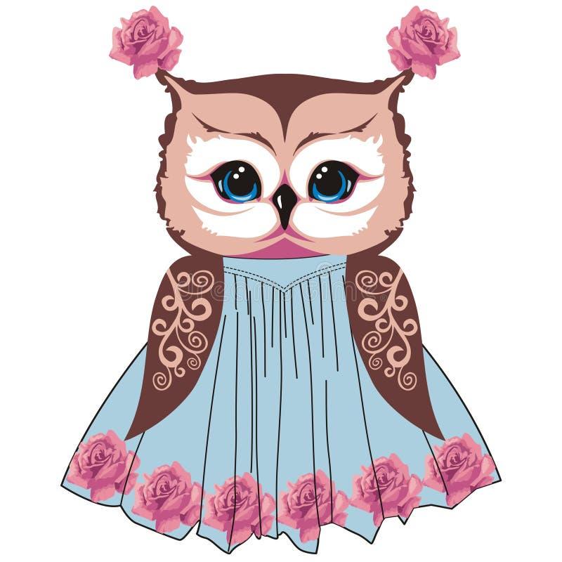 A coruja ao estilo do chique gasto, boho, provence com testes padrões do laço e rosas floresce ilustração royalty free