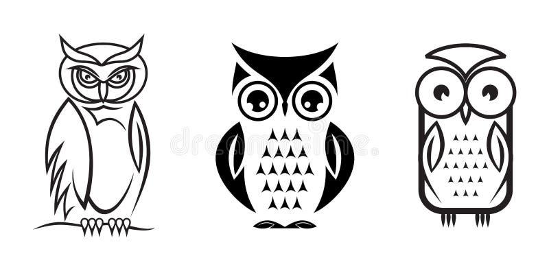 A coruja bonita ajustou-se no fundo como um símbolo - sumário ilustração stock