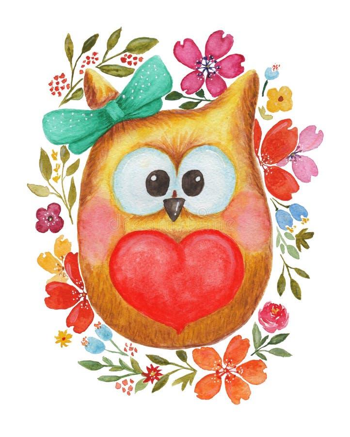 Coruja bonita da aquarela com coração e flores ilustração royalty free