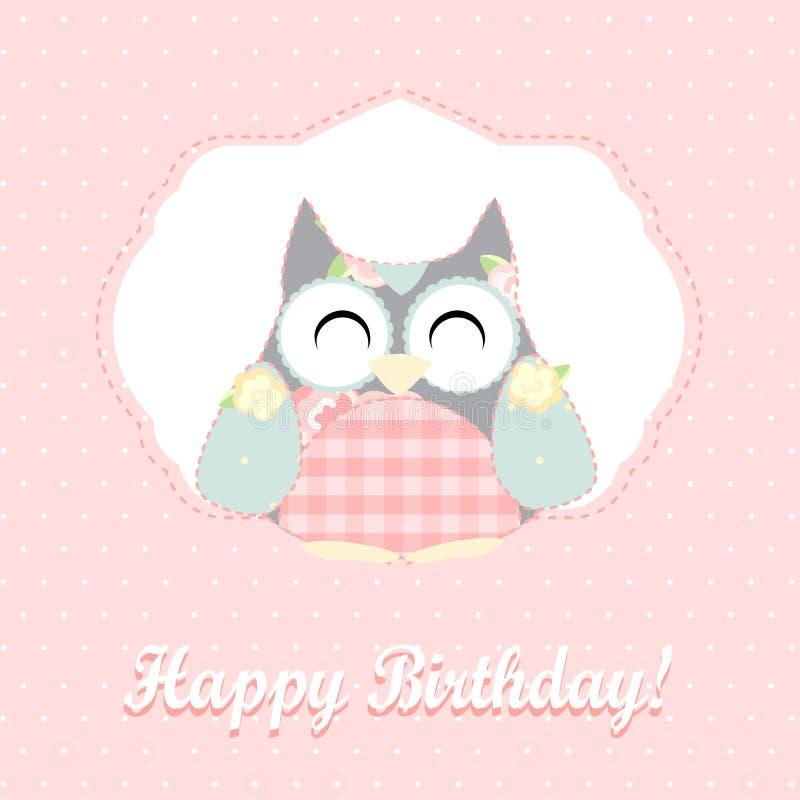 Coruja bonito Cartão do feliz aniversario ilustração royalty free