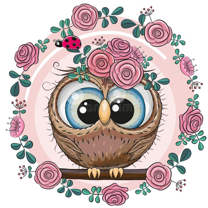 Coruja bonito do cartão com flores ilustração stock