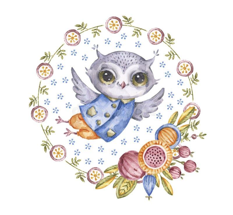 Coruja bonito do watercolour na grinalda da flor do círculo ilustração stock