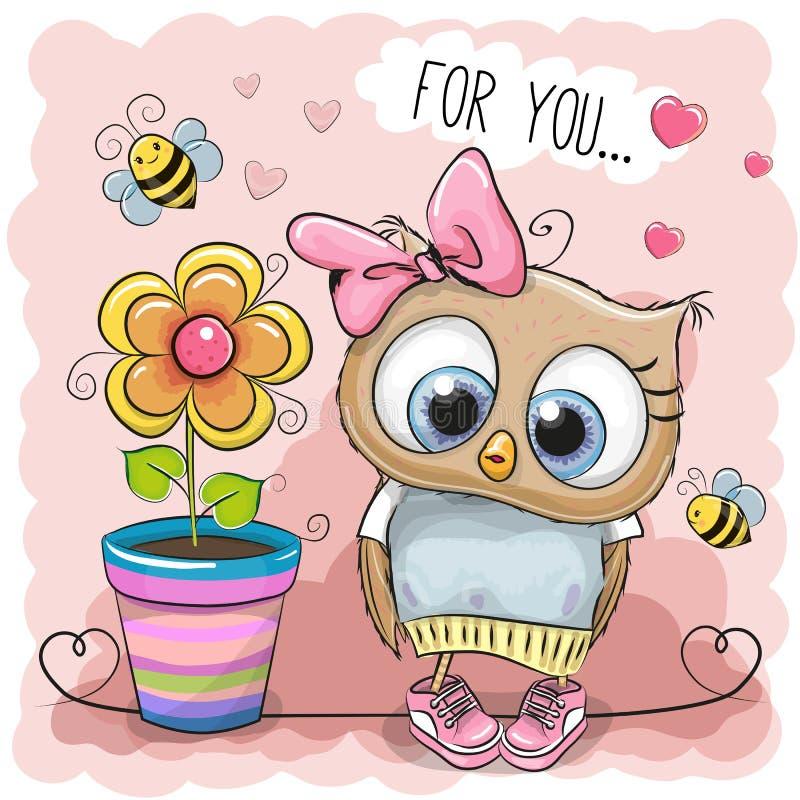 Coruja bonito dos desenhos animados com flor