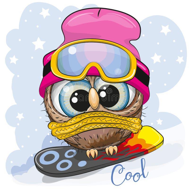 Coruja bonito dos desenhos animados em um snowboard ilustração royalty free