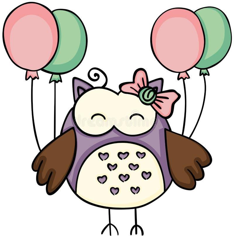Coruja bonito que guarda balões ilustração stock