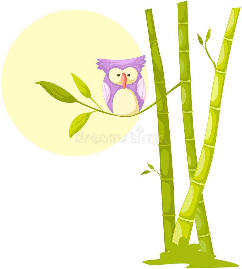 Coruja bonito que senta-se no bambu ilustração stock