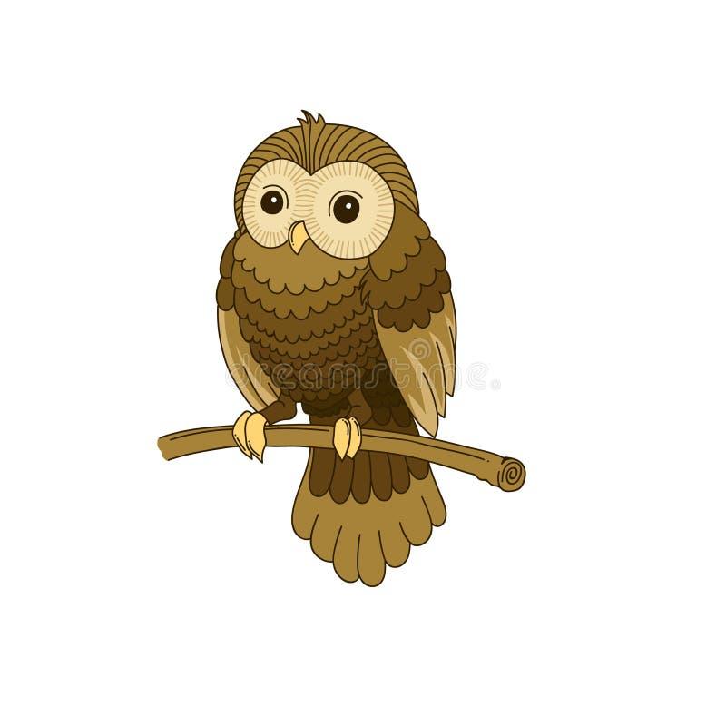 Coruja cinzenta desenhado à mão bonito ilustração do vetor