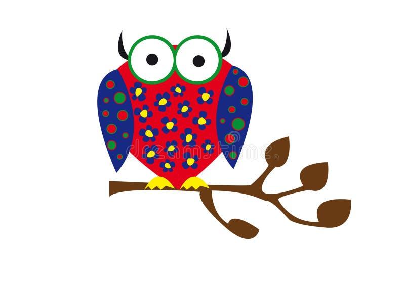 Coruja colorida ilustração stock