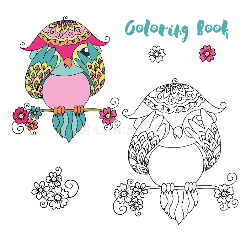 Coruja colorida bonito dos desenhos animados que senta-se no ramo de árvore imagens de stock royalty free