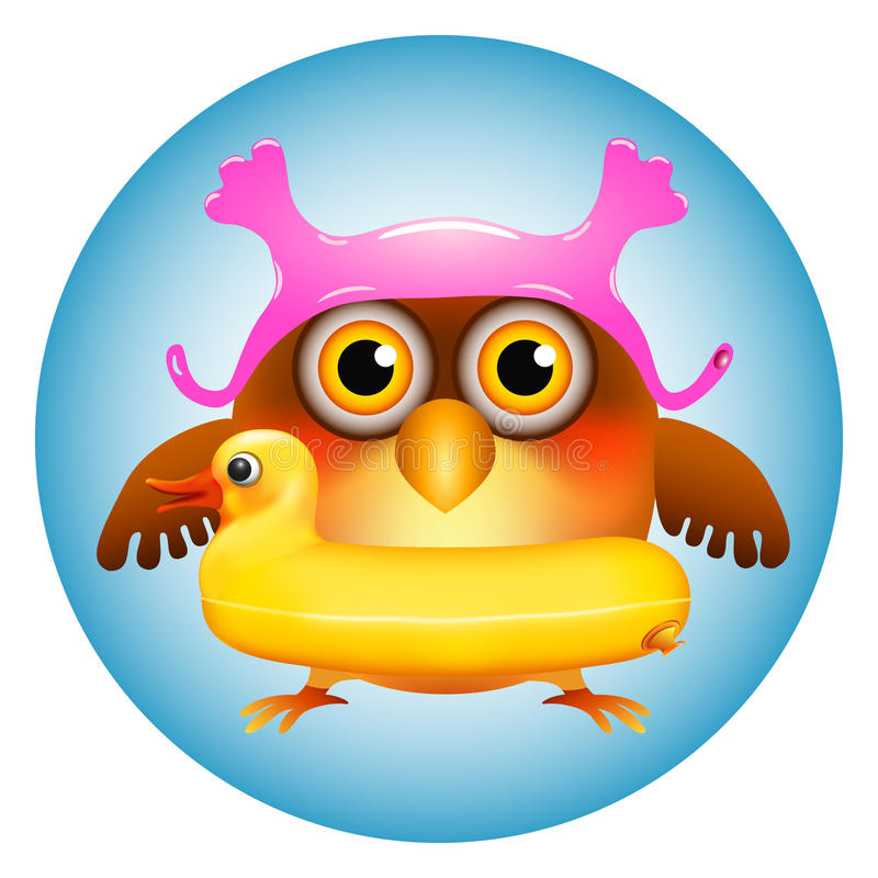 Coruja com anel da nadada do pato ilustração stock