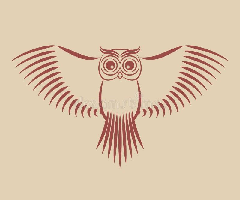 Coruja com asas espalhadas ilustração stock