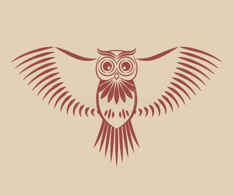 Coruja com asas espalhadas ilustração do vetor