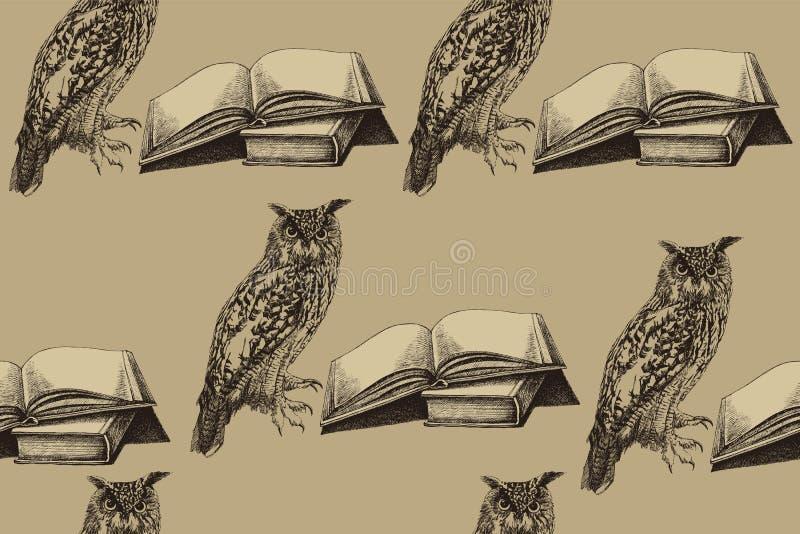 Coruja com um livro aberto, teste padrão sem emenda do pássaro desenho da m?o, ilustra??o do vetor fotos de stock royalty free