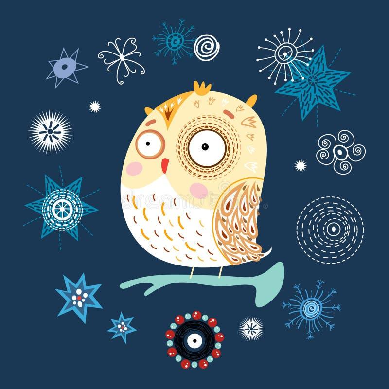 Coruja da neve ilustração stock