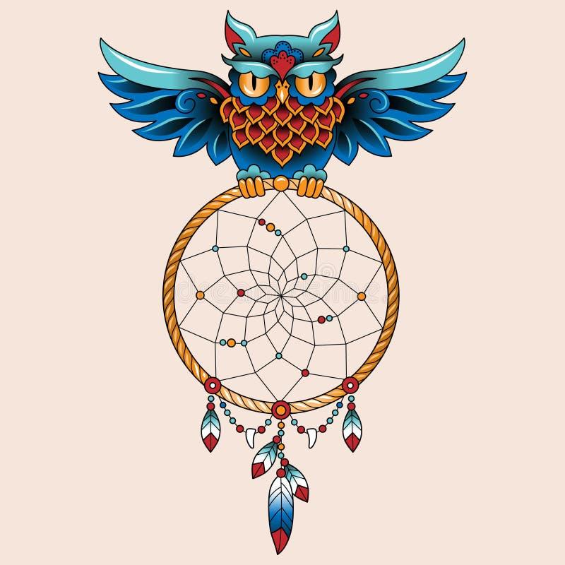 Coruja da tatuagem ilustração royalty free