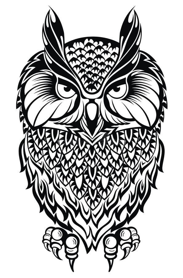 Coruja da tatuagem ilustração do vetor