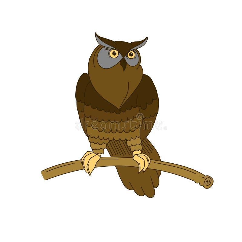 Coruja de águia desenhado à mão bonito ilustração royalty free