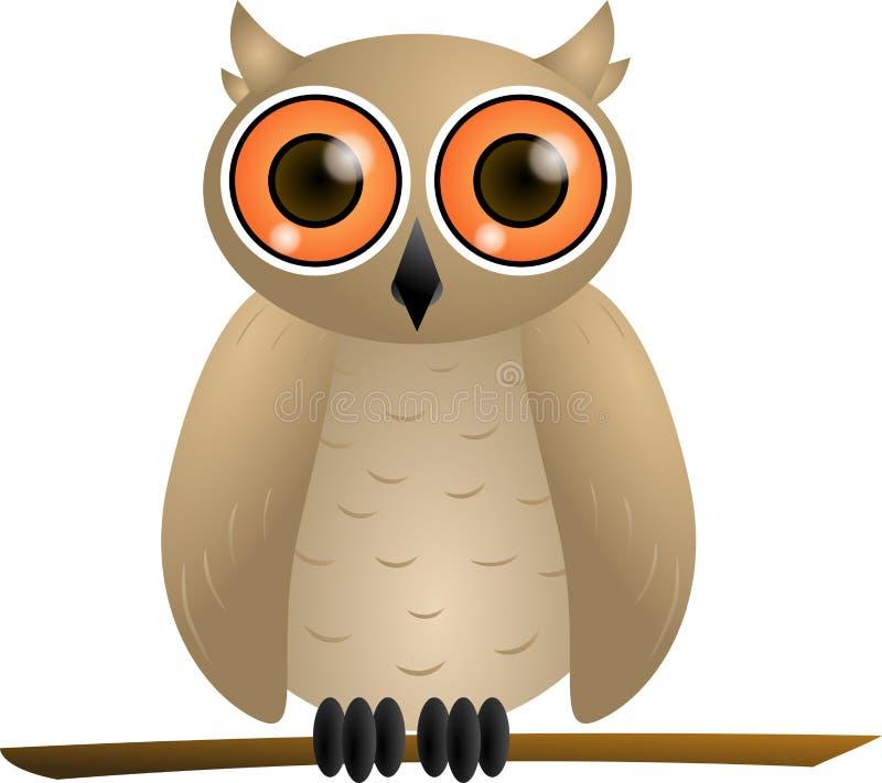 Coruja de Brown com olhos alaranjados ilustração stock