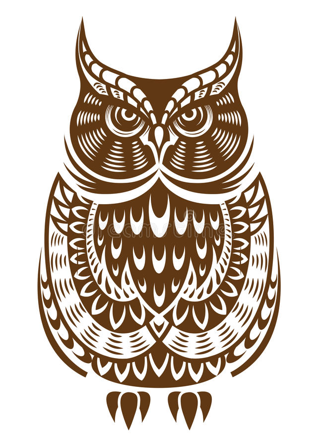 Coruja de Brown com ornamento decorativo ilustração royalty free