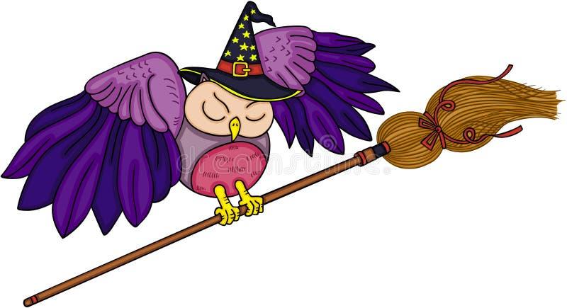 Coruja de Dia das Bruxas com vassoura de bruxa ilustração stock