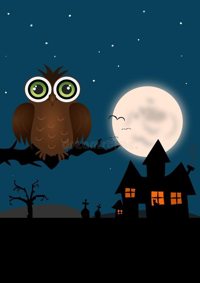 Coruja de Halloween ilustração royalty free
