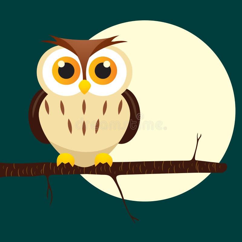 Coruja de noite na árvore ilustração stock