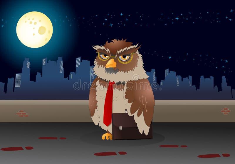 Download Coruja Do Negócio De Brown No Fundo Da Noite Ilustração Stock - Ilustração de noite, realização: 65579147