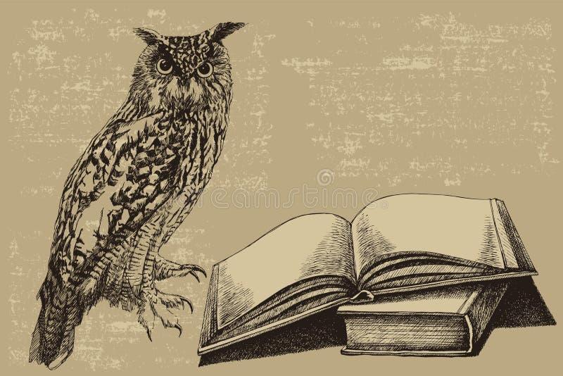 Coruja do pássaro com um livro aberto Desenhado à mão, ilustração do vetor imagem de stock royalty free