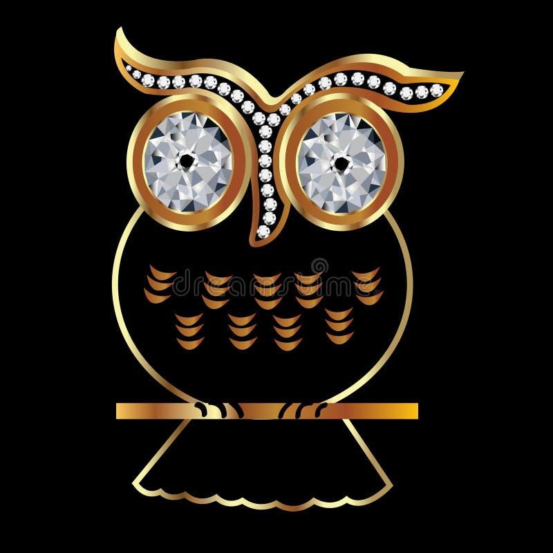 Coruja dourada ilustração royalty free