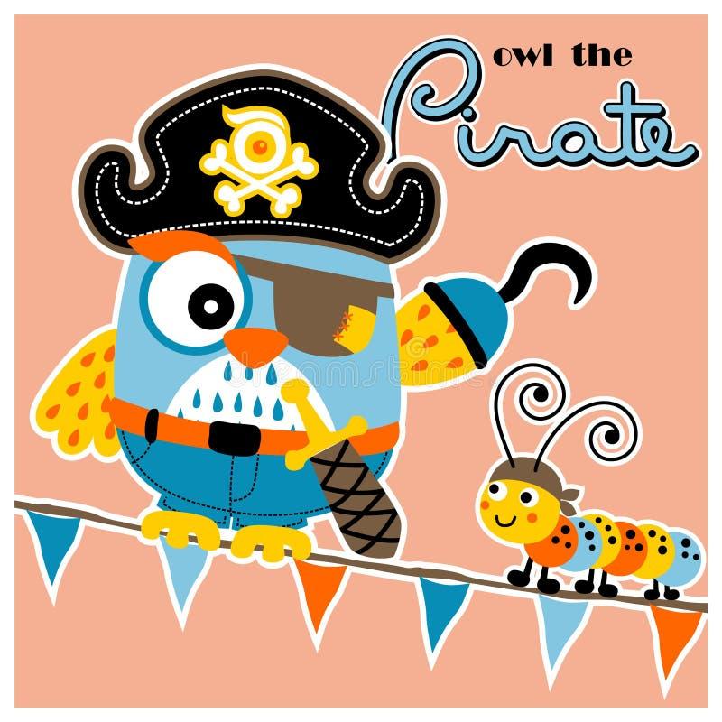 Coruja e lagarta os piratas ilustração stock