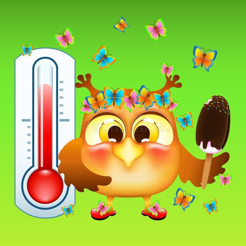 Coruja engraçada dos desenhos animados Com gelado em uma vara Perto do termômetro da rua ilustração royalty free