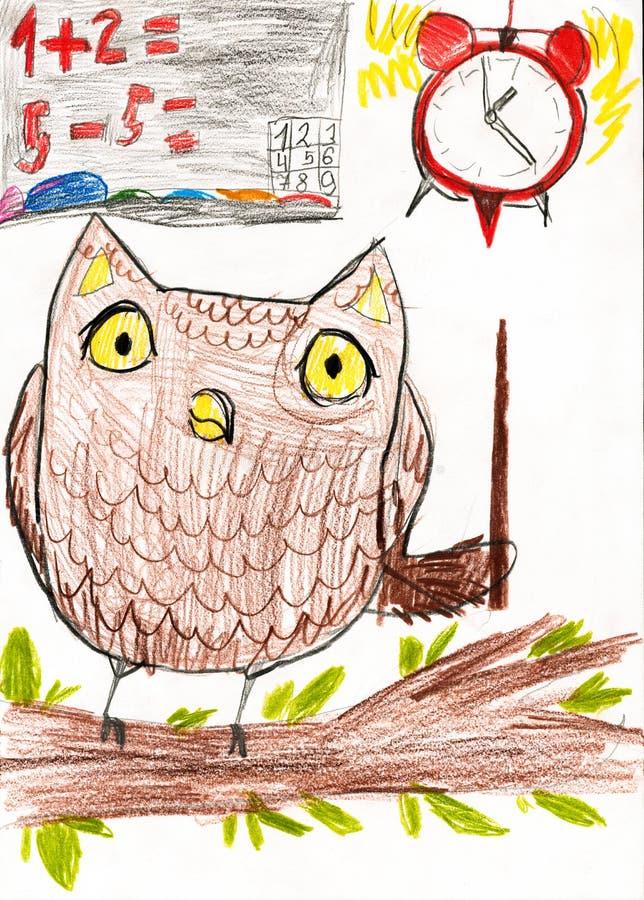 A coruja ensina a matemática Desenhar das crianças ilustração royalty free