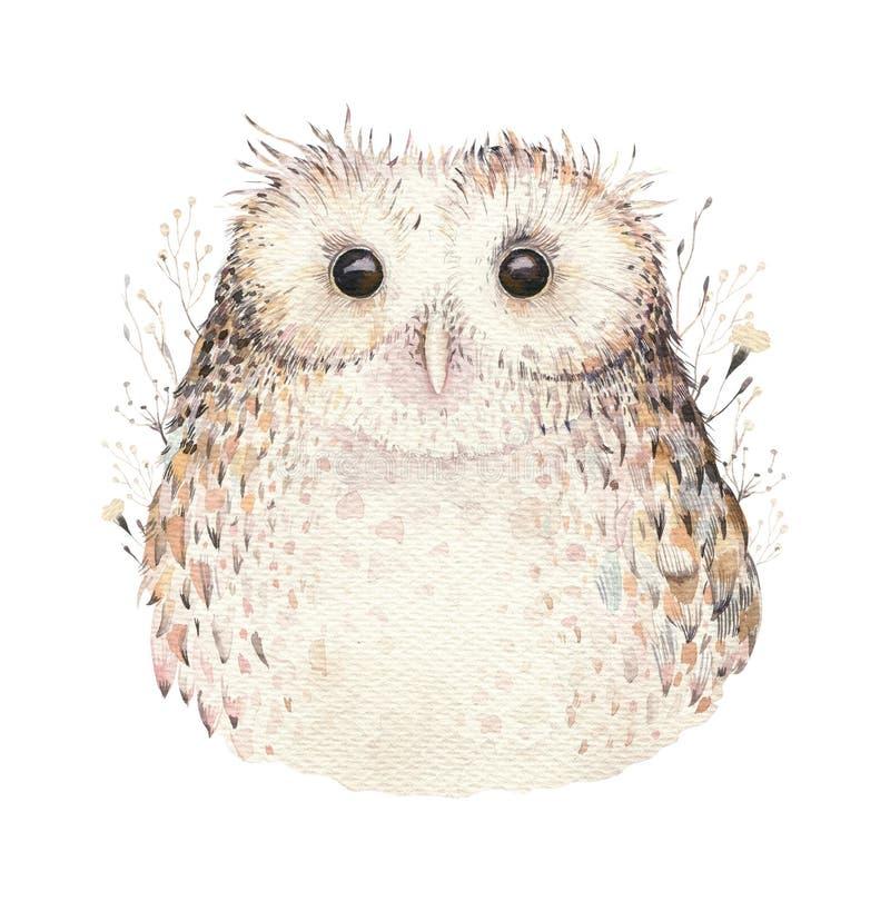Coruja natural do boho das penas de pássaros da aquarela Cartaz boêmio das corujas Ilustração do boho da pena para seu projeto Az ilustração royalty free