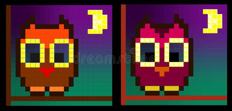 Coruja no luar (duas variações) imagens de stock royalty free