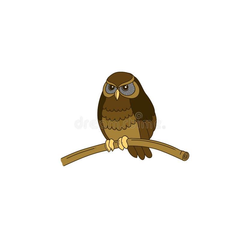 Coruja pequena horned desenhado à mão bonito ilustração do vetor