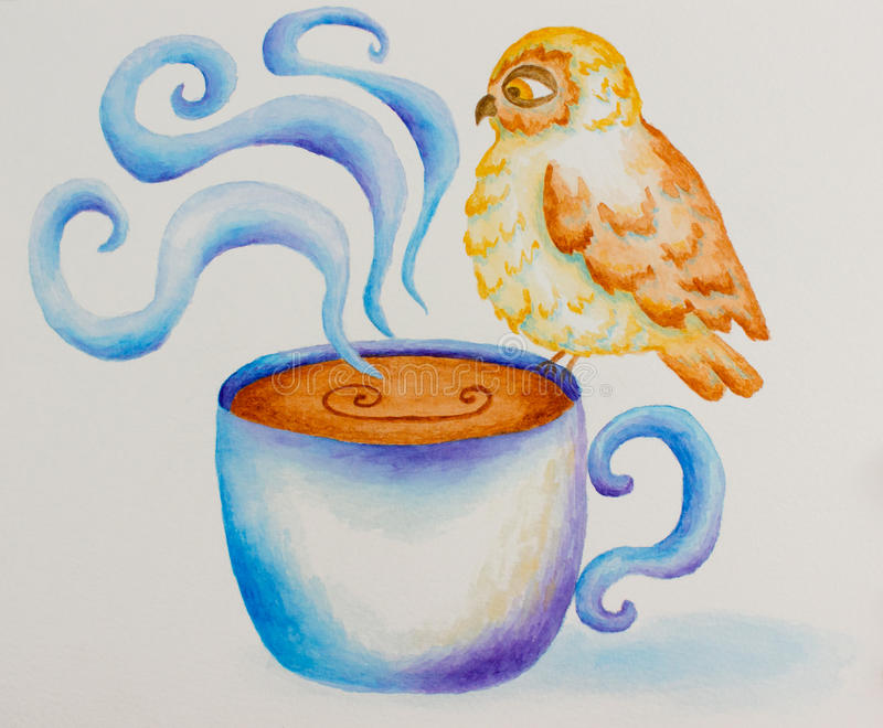 Coruja pintada na aquarela ilustração do vetor