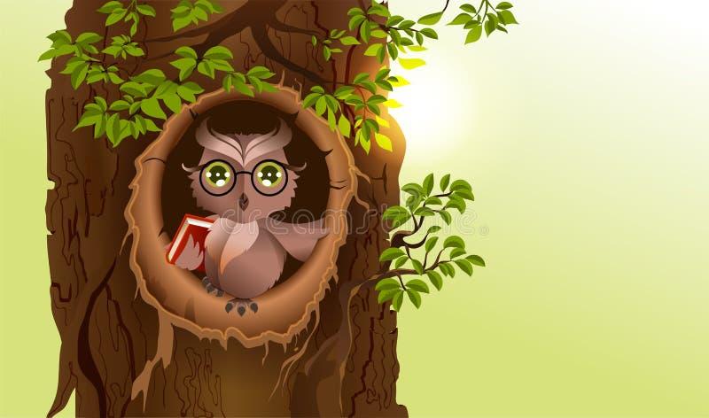 Coruja sábia com o livro na cavidade da árvore Dia do conhecimento ilustração royalty free